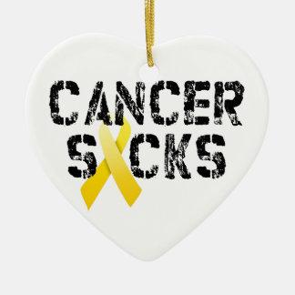 Cancer Sucks - Childhood Cancer Ribbon Christmas Ornament