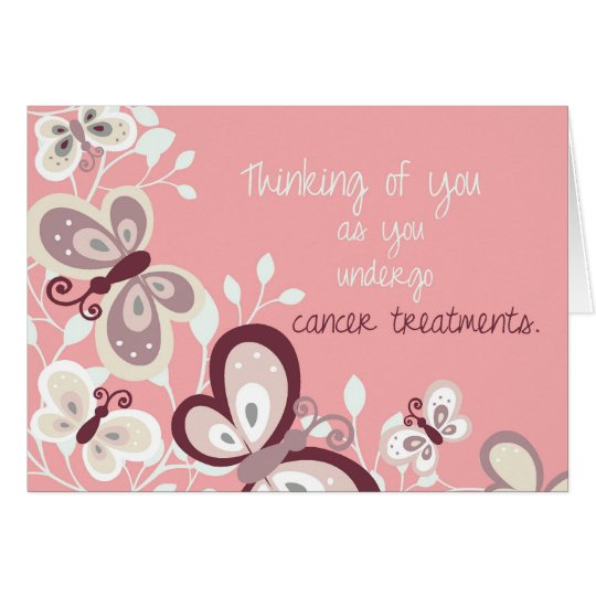 Cancer Support Thinking of You, Butterflies, Pink Card