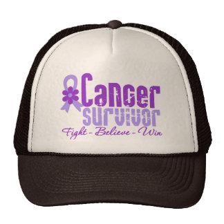 Cancer Survivor Lavender Flower Ribbon Trucker Hat