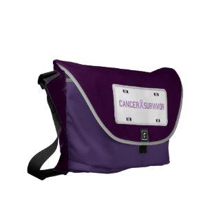 Cancer Survivor License Plate Messenger Bag
