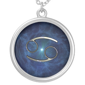 Cancer symbol silver plated necklace
