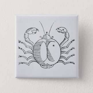 Cancer (the Crab) an illustration from the 'Poetic 15 Cm Square Badge