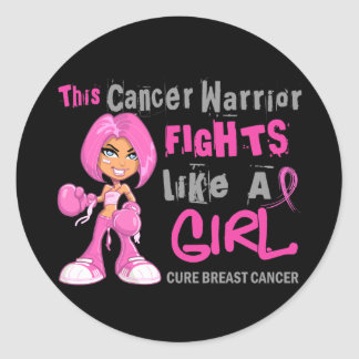 Cancer Warrior Fights Like Girl Breast Cancer 42 9 Round Stickers
