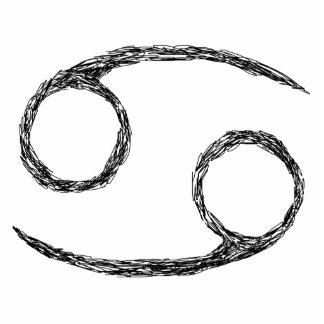 Cancer. Zodiac Astrology Sign. Black. Photo Sculpture Badge