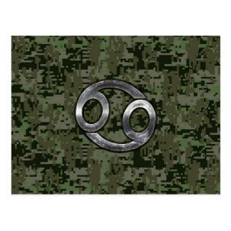 Cancer Zodiac Sign on Olive Green Digital Camo Postcard