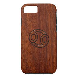 Cancer Zodiac Symbol on Mahogany Wood Style iPhone 7 Case