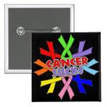 Cancers Sucks Awareness Ribbons 15 Cm Square Badge