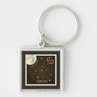 Cancro 22 giugno Al 22 peeping Lio key supporters Silver-Colored Square Key Ring