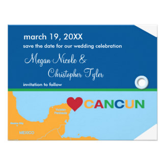 Cancun Luggage Tag Save the Date Announcement