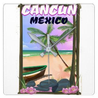 Cancun Mexico beach poster. Clocks