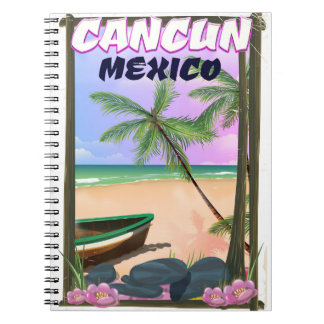 Cancun Mexico beach poster. Spiral Notebook