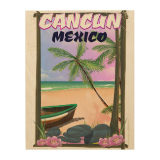 Cancun Mexico beach poster. Wood Print