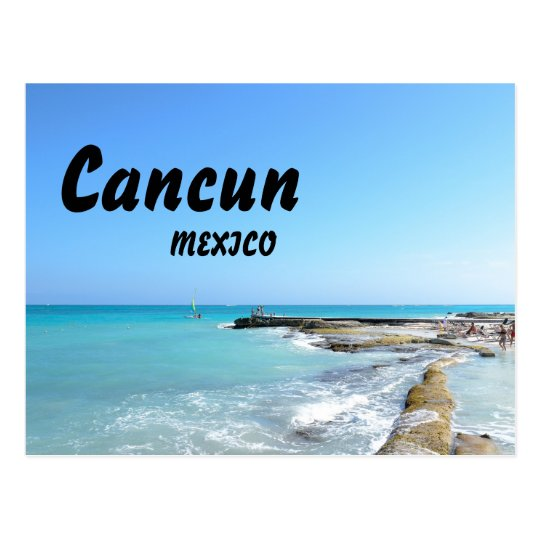 Cancun Mexico Beach Resort Clear Ocean Water Postcard