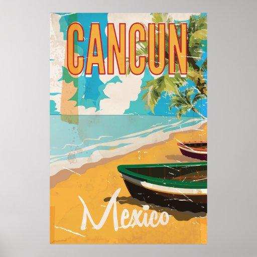 Cancun Mexico Beach Vintage travel poster print