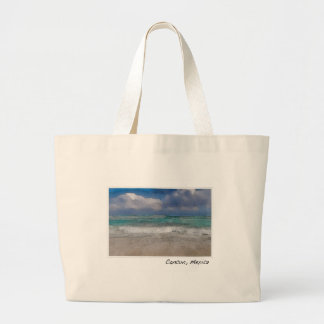 Cancun Mexico Ocean Beach Large Tote Bag