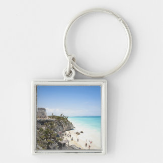 Cancun, Quintana Roo, Mexico - Ruins on a hill Silver-Colored Square Key Ring
