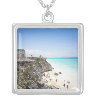 Cancun, Quintana Roo, Mexico - Ruins on a hill Silver Plated Necklace