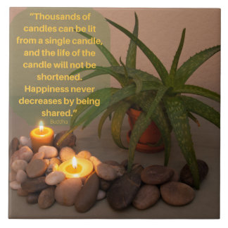 Candle and Aloe Photograph with Buddha Quote Tile