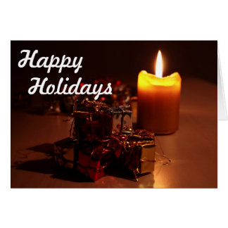Candle and Gifts Happy Holidays Card