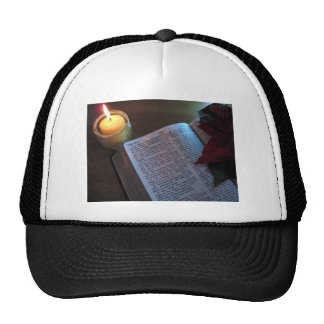 Candle, Bible, and Poinsetta Cap