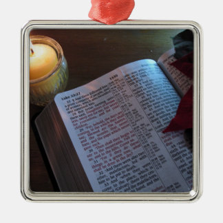 Candle, Bible, and Poinsetta Christmas Tree Ornament