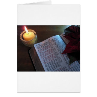 Candle, Bible, and Poinsetta Greeting Card