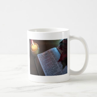 Candle, Bible, and Poinsetta Mugs