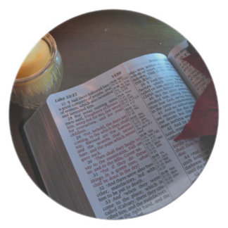 Candle, Bible, and Poinsetta Dinner Plate