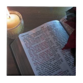 Candle, Bible, and Poinsetta Ceramic Tile