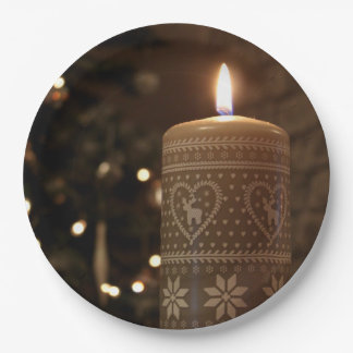 Candle Christmas paper plates