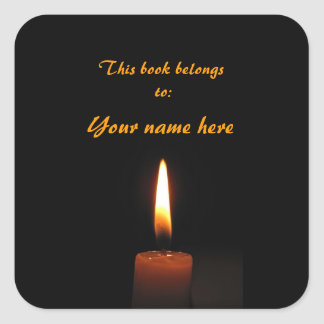 Candle Flame Bookplate Square Sticker