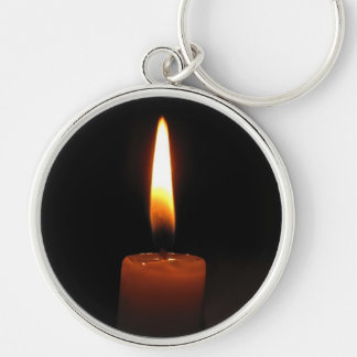 Candle Flame Silver-Colored Round Key Ring