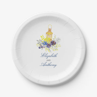 Candle Lit Lantern Elegant Blue and Yellow Flowers 7 Inch Paper Plate