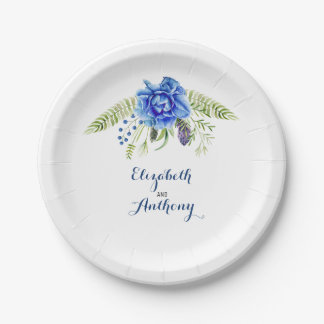 Candle Lit Lantern Elegant Blue Flowers 7 Inch Paper Plate