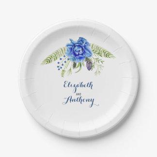 Candle Lit Lantern Elegant Blue Flowers Paper Plate