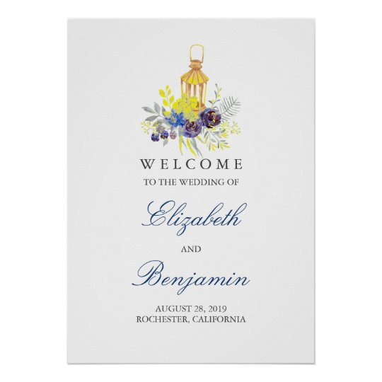 Candle Lit Lantern Wedding Welcome Sign