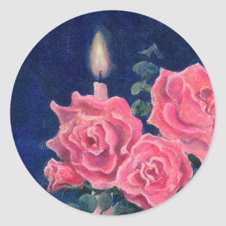 CANDLE & ROSES by SHARON SHARPE Round Sticker