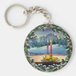 CANDLE & WREATH by SHARON SHARPE Keychains