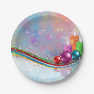 Candles and Ornaments Paper Plate