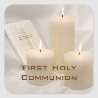 Candles and Prayer Book First Holy Communion Square Sticker
