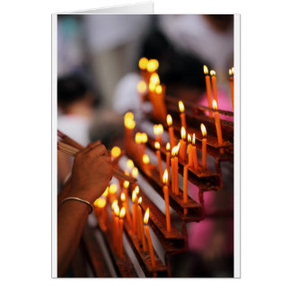 Candles burning inside Chinese Buddhist temple Greeting Card