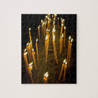 Candles lit in a church, Armenia Jigsaw Puzzle