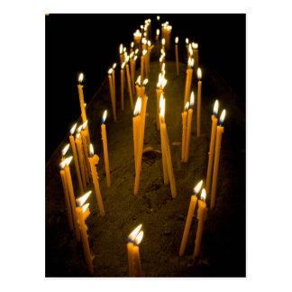 Candles lit in a church, Armenia Postcard