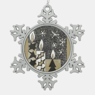 Candles. Snowflake Pewter Christmas Ornament
