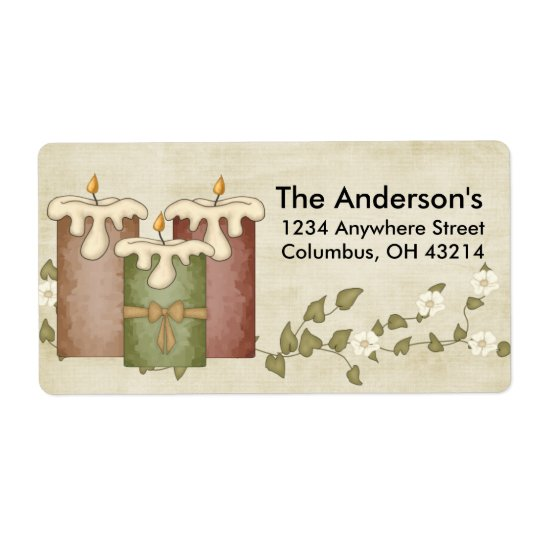 Candles with Flower Vine :: Address Labels