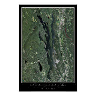 Candlewood Lake Connecticut Satellite Map Poster