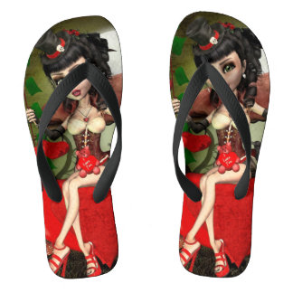 Candy Apple Love Gothic Doll Unisex Flip Flops