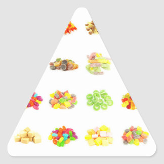 Candy Background and Assorted Types on White Art Triangle Sticker