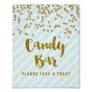 Candy Bar Baby Shower Sign Blue Gold Stripes Poster