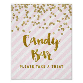 Candy Bar Baby Shower Sign Pink Gold Stripes Poster